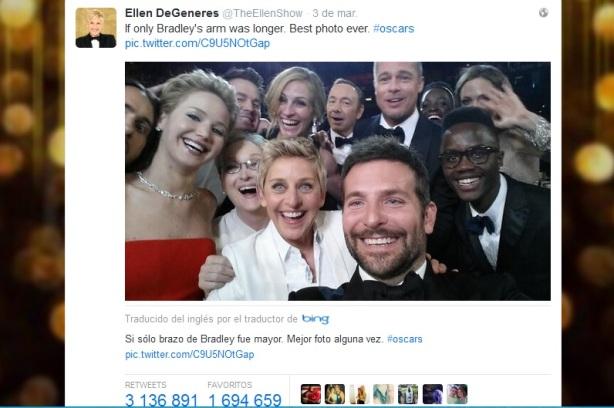El selfie de Ellen DeGeneres es el más retuiteado de la historia