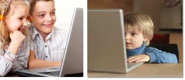 niños con laptop