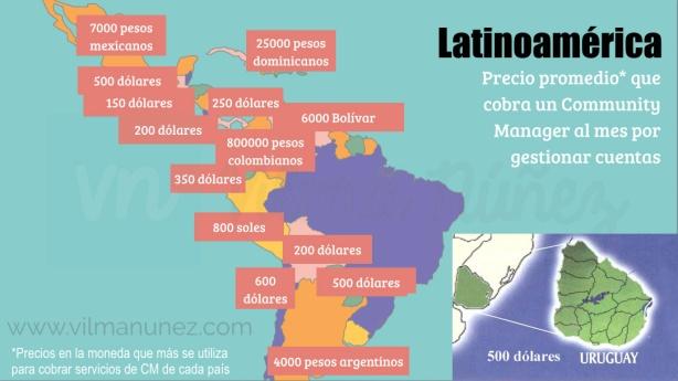 Mapa realizado por @Vilmanunez, con el agregado del dato de Uruguay por @MonikViera