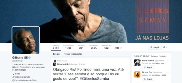 perfil Gilberto Gil